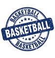 basketball blue grunge round vintage rubber stamp vector image vector image