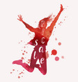 big sale concept jumping woman vector image
