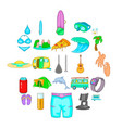 carefree life icons set cartoon style vector image