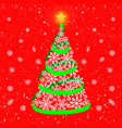 christmas tree with glowing gold star made of vector image vector image