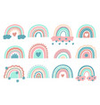 cute rainbows doodle nursery rainbow with clouds vector image vector image