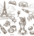 france paris sketch seamless pattern vector image vector image