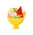 fresh ripe fruits in yellow vase healthy vector image vector image