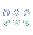 friends couple miss you and kiss me icons set vector image vector image