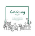 gardening doodle icons below frame with vector image vector image
