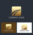 gold square loop abstract company logo vector image vector image