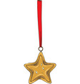 golden christmas star with red ribbon vector image vector image