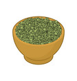 green lentils in wooden bowl isolated groats in vector image