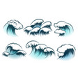 hand drawn ocean wave set vector image