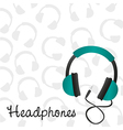 headphones turquoise background pattern on headpho vector image