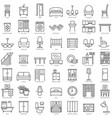 Indoor furniture linear icons set