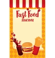 menu price fast food vector image vector image
