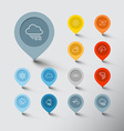 Minimalistic weather thin line pointer icon set vector image