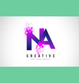 na n a purple letter logo design with liquid vector image vector image