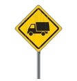 Old road sign with a truck vector image