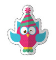 owl with party hat vector image