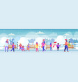 people in santa hats walking outdoor mix race men vector image