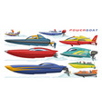 power boat speedboat sailboat transport in vector image vector image
