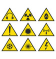safety signs set yellow triangle shape vector image