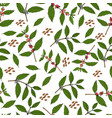 seamless pattern with branches and beans coffee vector image