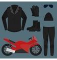 Set Biker Apparel vector image vector image
