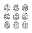 set hand drawn doodle easter eggs vector image