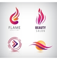 set of abstract wavy logos arrow flame vector image vector image