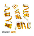 set of gold curling streamers on white vector image vector image