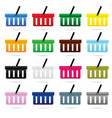 shopping basket set in color design vector image vector image