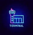 terminal neon label vector image vector image