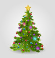 the christmas tree is decorated with balls a vector image vector image