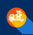 truck with bear white icon on tangelo vector image