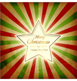 Vintage light burst Christmas Card with star vector image
