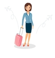 Woman in a business suit with luggage Business vector image vector image