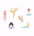 woman in various poses yoga shapes vector image