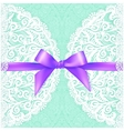 Light green lacy wedding card template vector image
