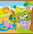 Cute Cartoon Zoo Animals vector image