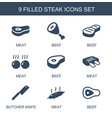 9 steak icons vector image vector image