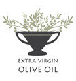 amphora with olive branches symbol vector image