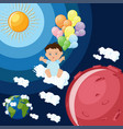 baby boy dreams to fly to mars on clouds