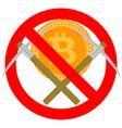 ban mining and forbidden bitcoin symbol vector image
