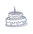 birthday cake with candle symbol celebration vector image vector image