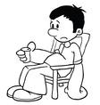 black and white sad boy vector image vector image