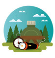 camping zone with equipment vector image