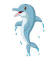cartoon happy blue dolphin jumping vector image vector image