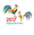 christmas card with a rooster vector image vector image