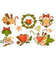christmas holiday symbols cookies and hot drinks vector image