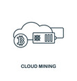 cloud mining outline icon monochrome style design vector image vector image
