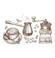 coffee sketch drink concept vintage vector image vector image