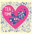 collection in heart shape with doodle tea time vector image vector image